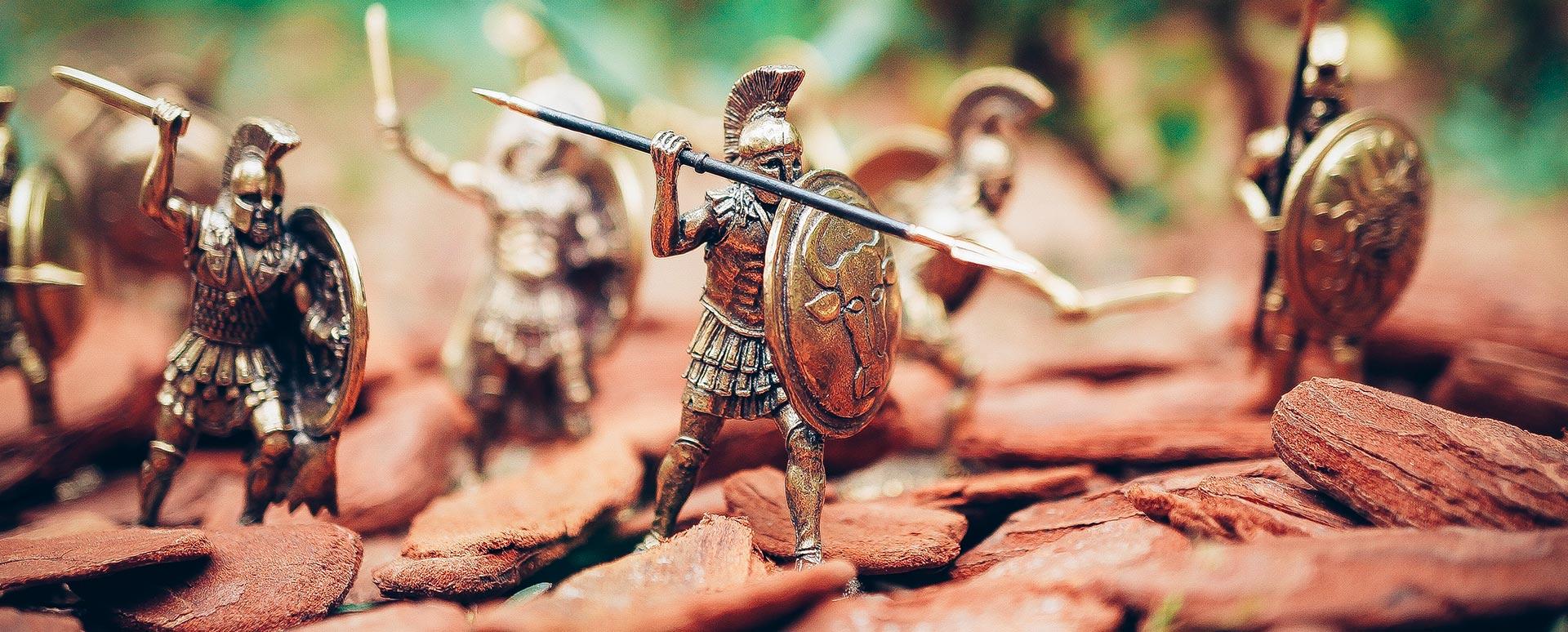 Novela Histórica - Miniaturas de soldados griegos