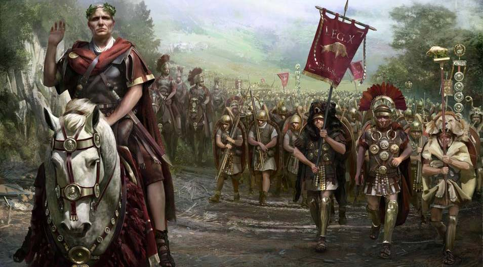 Legiones Romanas con Julio Cesar conquistando Hispania