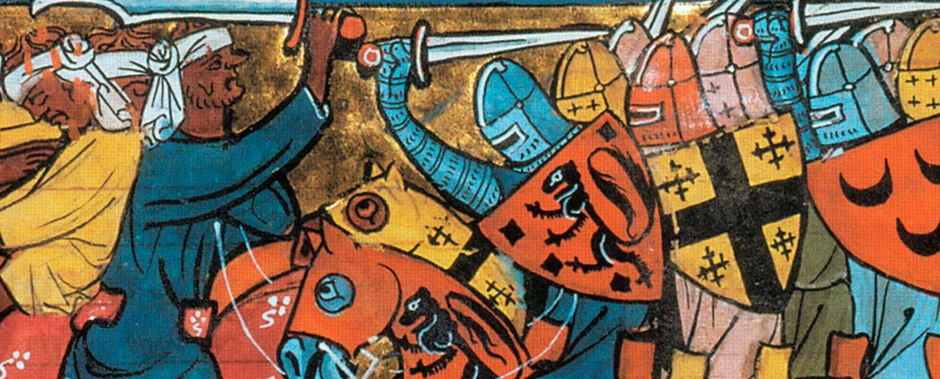 Pintura medieval Cruzados luchando contra árabes