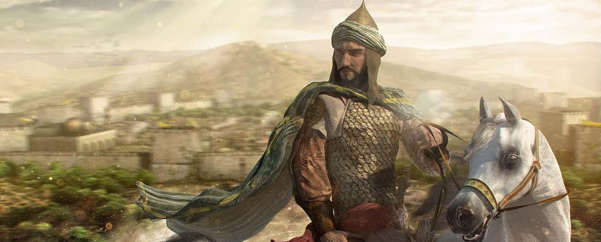 Retrato moderno de Saladino montado a caballo