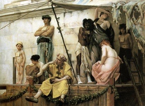 Historia del cristianismo - Mercado de esclavos en Roma